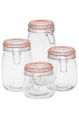 Glass Jar With Clip In Box - Set Of 4