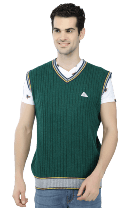 MONTE CARLO Mens Sleeveless V Neck Slim Fit Stripe Sweater