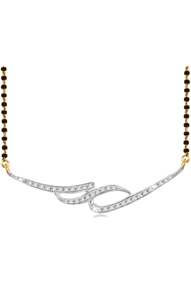 SPARKLES 18Kt Gold Mangalsutra With Diamond Pendant Along With Gold Plated Silver Chain And Black - 7503107_9999