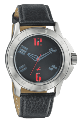 FASTRACKMens Watch With Black Leather Strap - 3075SL04