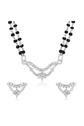 MAHI Mahi Rhodium Plated Pious Mangalsutra Set With CZ For Women NL1101955R2