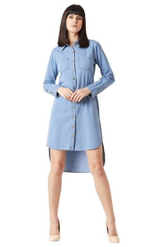 Womens Washed Buttoned High-Low Shirt Dress