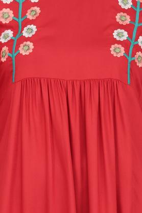Womens Round Neck Solid Embroidered Fringe Skater Dress