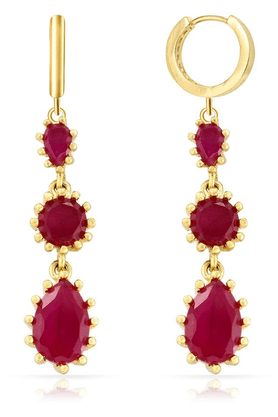 MAHI Mahi Gold Plated Winsome Earrings With Ruby For Women ER1103674G