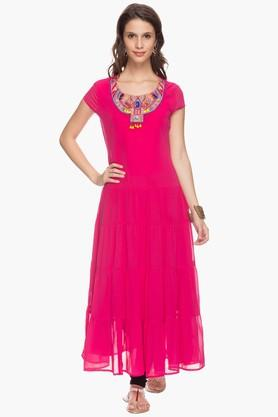 IMARA Womens Round Neck Embellished Maxi Top