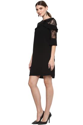 Womens Round Neck Solid Lace Shift Dress