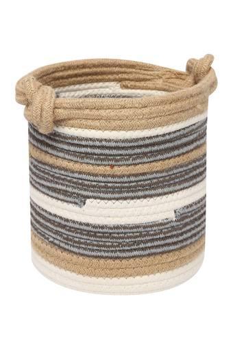 Cylindrical Jute Rope Motif Stripe Basket
