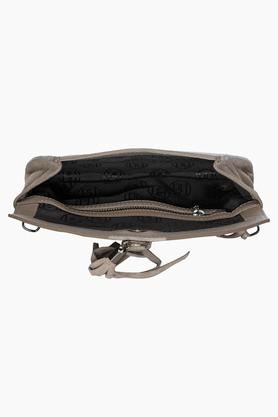 Womens Leather Snap Closure Sling Bag