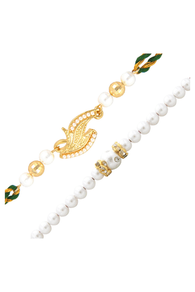 MAHI Combo Of Beaming Gold Plated Two Rakhis