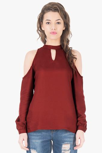 c30276d29ba Buy FABALLEY Womens Halter Neck Cold Shoulder Top | Shoppers Stop
