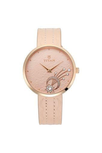 Womens Stellar Rose Gold Dial Leather Analogue Watch - NK95083WL01