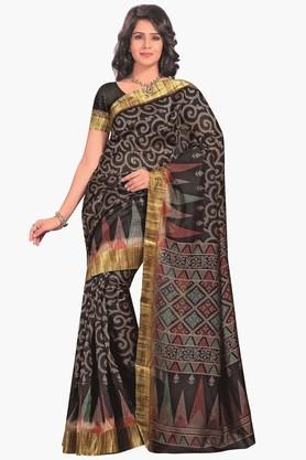 DEMARCA Womens Printed Gold Woven Saree - 201811303_9212