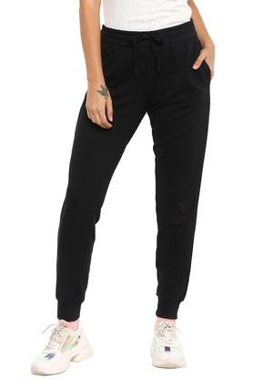 Womens 2 Pocket Solid Sports Joggers