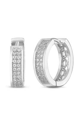MAHI Mahi Rhodium Plated Double Line Pave Bali Earrings With CZ Stones For Women ER1102104R