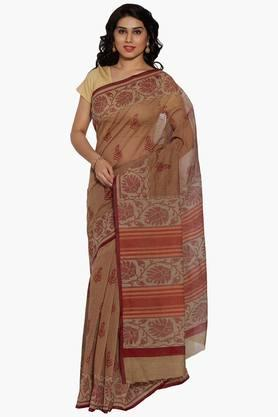 JASHN Women Paisley Motif Print Cotton Saree