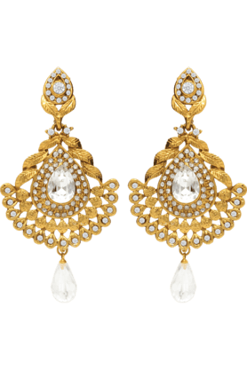 DONNATraditional Ethnic Diamond Drops Dangler Earrings With Crystal For Women By Donna ER30023G