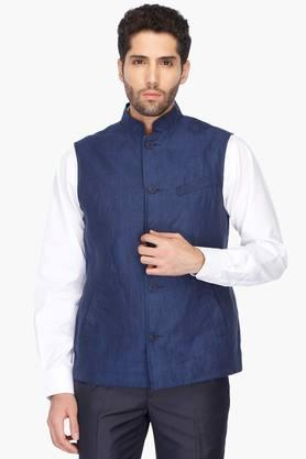 INDIAN TERRAIN Mens Regular Fit Solid Nehru Jacket (Bandhgala Fit) - 201260566