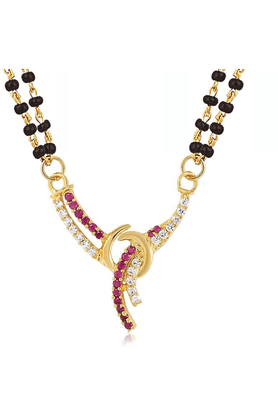 MAHI Mahi Gold Plated Sacred Love Mangalsutra Pendant With CZ & Ruby For Women PS1193513G2