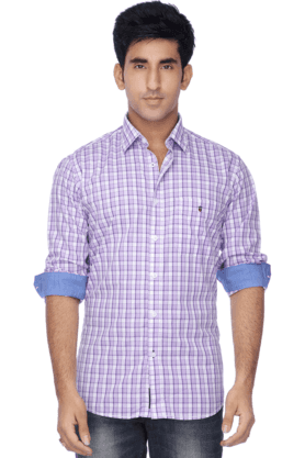 Louis Philippe Sports Formal Shirts (Men's) - Mens Full Sleeves Slim Fit Casual Check Shirt
