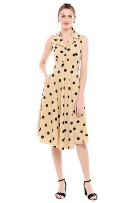 Womens Notched Collar Printed Skater Dress