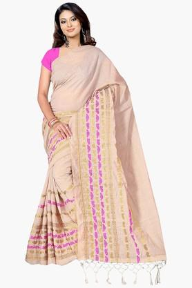 Women Poly Cotton All Over Buti With Zari Border Saree - 202446931