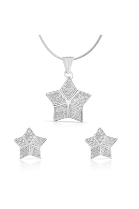 MAHI Mahi Rhodium Plated Star Shine Pendant Set With CZ For Women NL1100135R