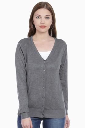 ZINK LONDON Womens V Neck Slub Sweater (Buy 2 And Get Leather Pouch Free)