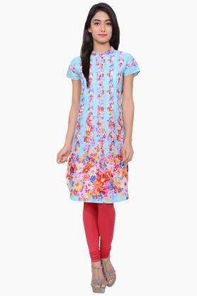 JUNIPERWomen Floral Print Cotton Chinese Collar Kurta