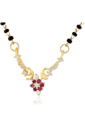 MAHI Mahi Gold Plated Cubic Zirconia Studded Mangalsutra For Women NL1101581G