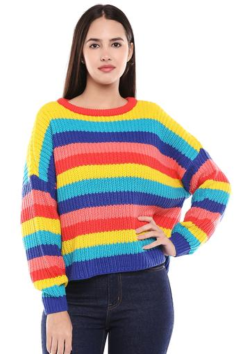 Womens Round Neck Striped Pullover