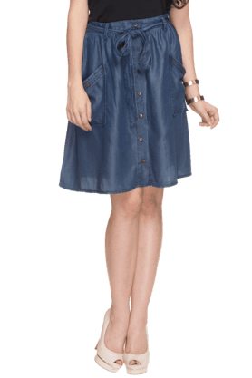 RS BY ROCKY STAR Women Denim Knee Length Skirt