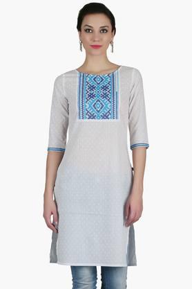 JUNIPERWomens Round Neck Embroidered Kurta - 202483718