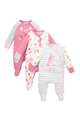 MOTHERCARE Girls Cotton Printed Sleepsuits - Pack Of 3