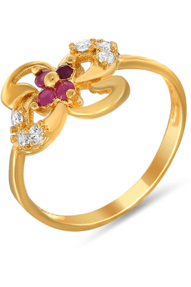 MAHI Mahi Gold Plated Naturalistic Ring With Ruby And CZ Stones For Women FR1100320G