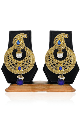 ZAVERI PEARLS Beautiful Blue Filigree Chandbali Dangle Drop Earrings - ZPFK2484