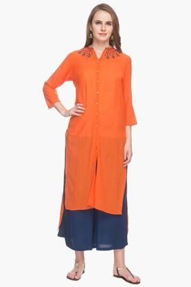 RS BY ROCKY STAR Womens Resham Embroidered Kurta