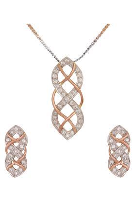 WAMAN HARI PETHEWomens Aabha Collections Diamond Pendant Set DLTSD16003270