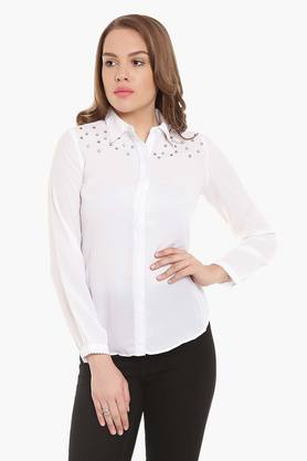Womens Slim Fit Solid Shirt