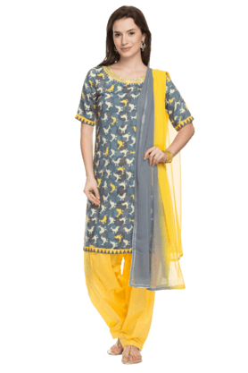 HAUTE CURRY Womens Printed Patiyala Kurta Dupatta Set