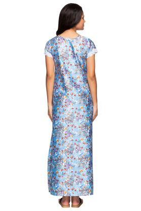 Womens V Neck Floral Print Night Gown