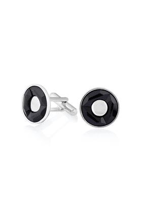 Rhodium Plated Black Round Cufflink Made with Swarovski Elements for Men CL1100203RBla