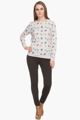 Womens Round Neck Printed Pullover