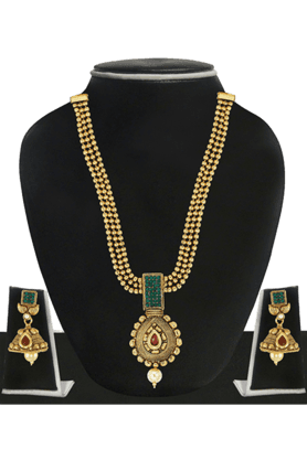 ZAVERI PEARLS Womens Gold Plated Long Necklace Set - 200929029