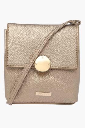 Womens Metallic Closure Sling Bag