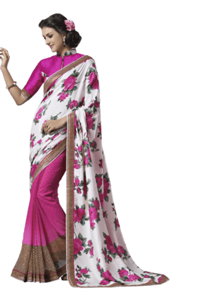 DEMARCA Women Georgette Saree (Buy Any Demarca Product & Get A Pair Of Matching Earrings Free)