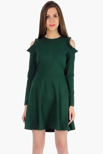 Womens Round Neck Cold Shoulder Solid Skater Dress
