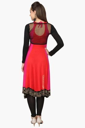 Womens Colour Block Anarkali Kurta With Shrug
