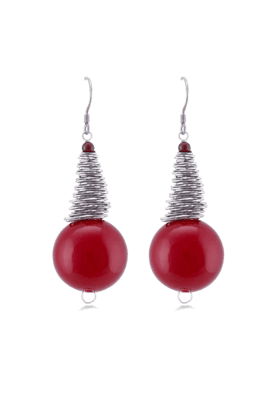 JAZZ Red Colour Hanging Pearl Earring