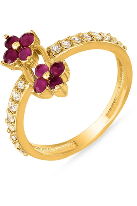 MAHIMahi Gold Plated Mersmerising Ring With Ruby And CZ Stones For Women FR1100315G