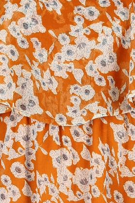 Womens Spaghetti Neck Printed A-Line Dress